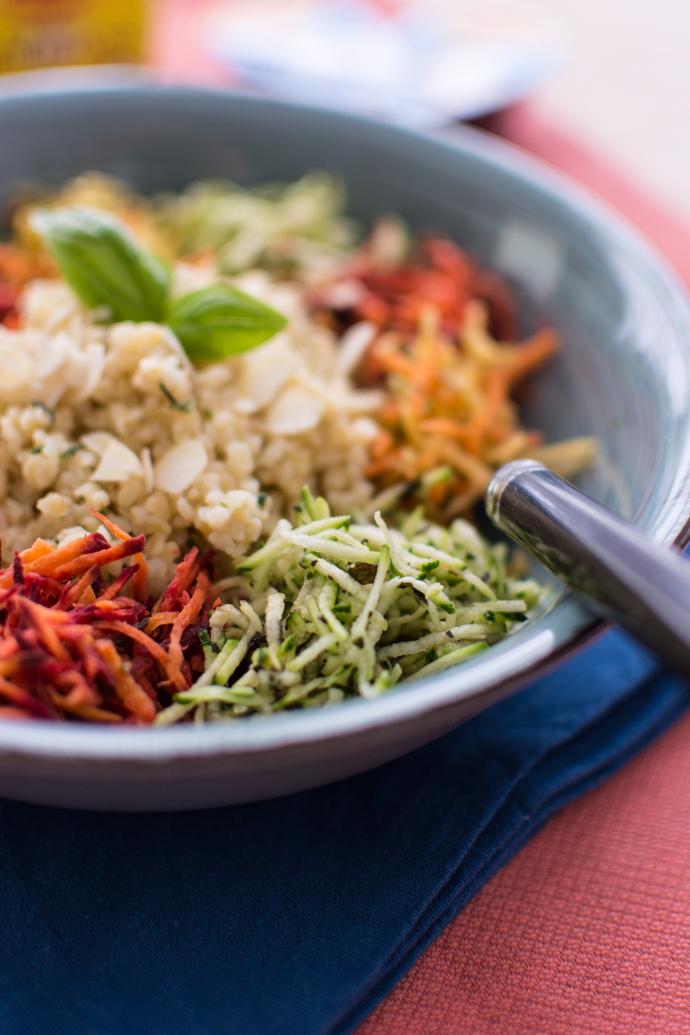 Recette estivale de calades - boulgour, courgette et carottes