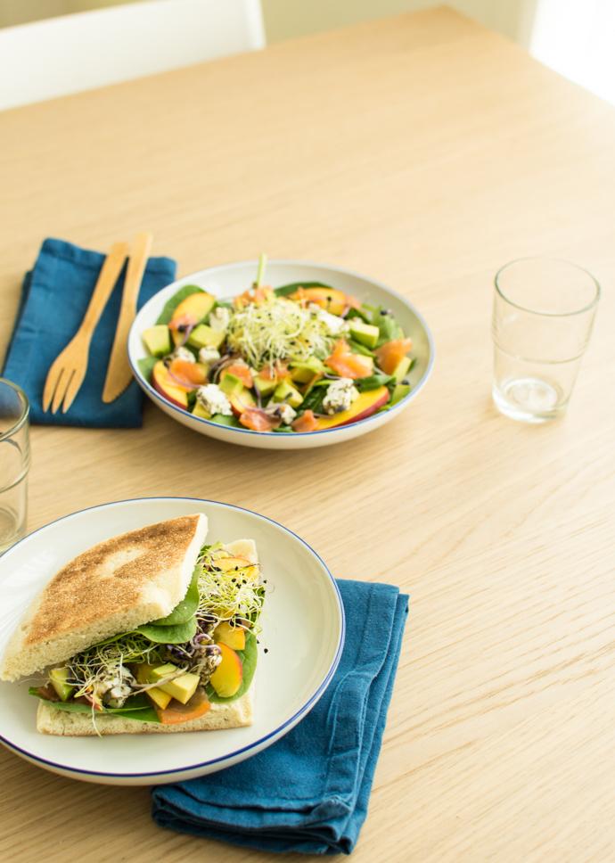 Salade Nectarine & Saumon ou sa variante en sanwich