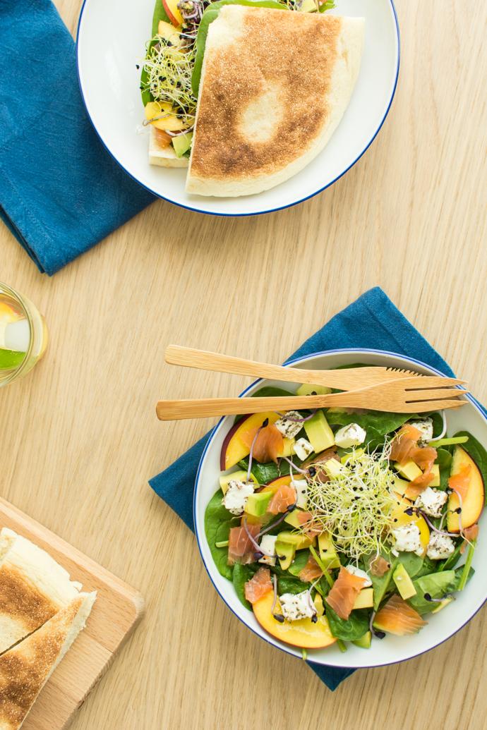 Salade sucrée-salée au saumon et à la nectarine