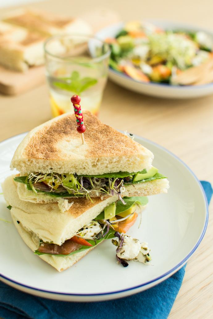Sandwich saumon et nectarine