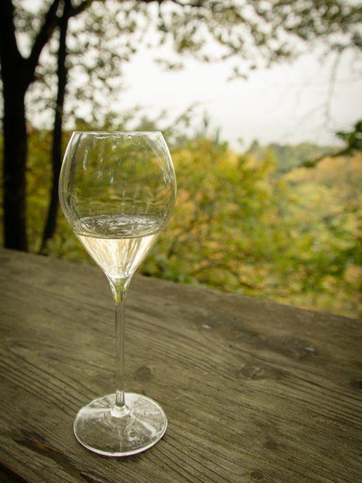 Coupe de champagne Lanson dans une cabane dans les bois