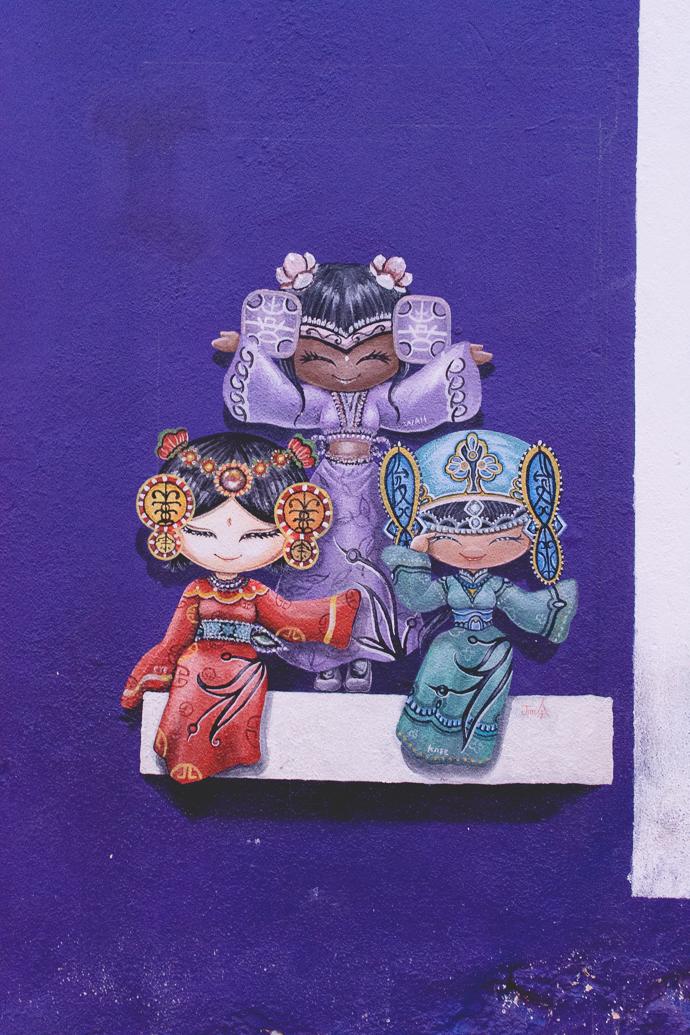 3 petites filles, street art, Penang, Malaisie