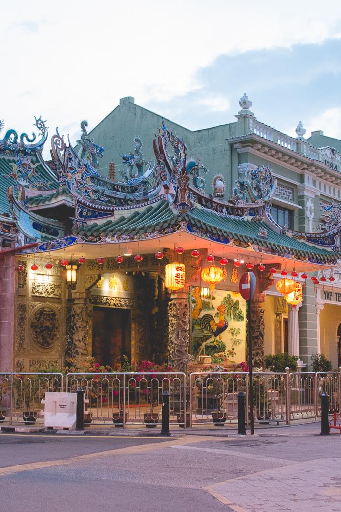 Temple chinois dans le quartier chinois de GeorgeTown, Penang, Malaisie