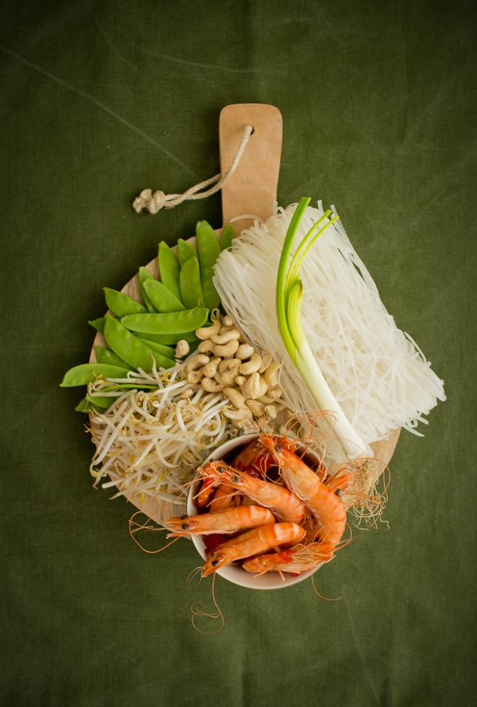 Ingrédients pour réaliser son Pad Thai aux crevettes
