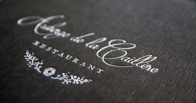 Carte du restaurant de l'Auberge de la Caillère - Touraine