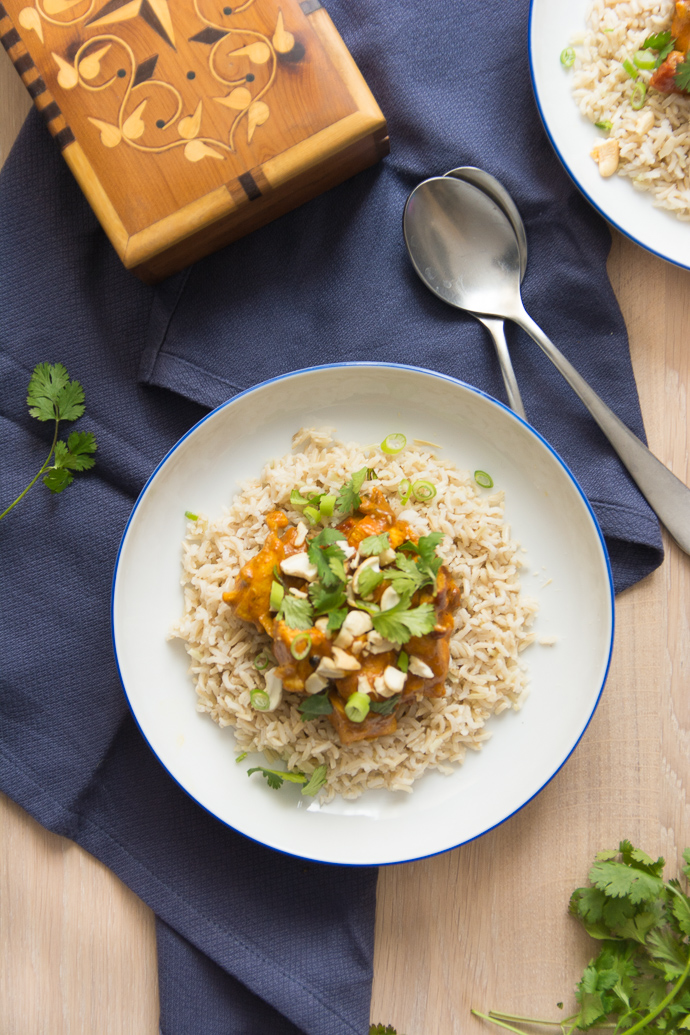 Shahi Korma poulet et riz semi-complet