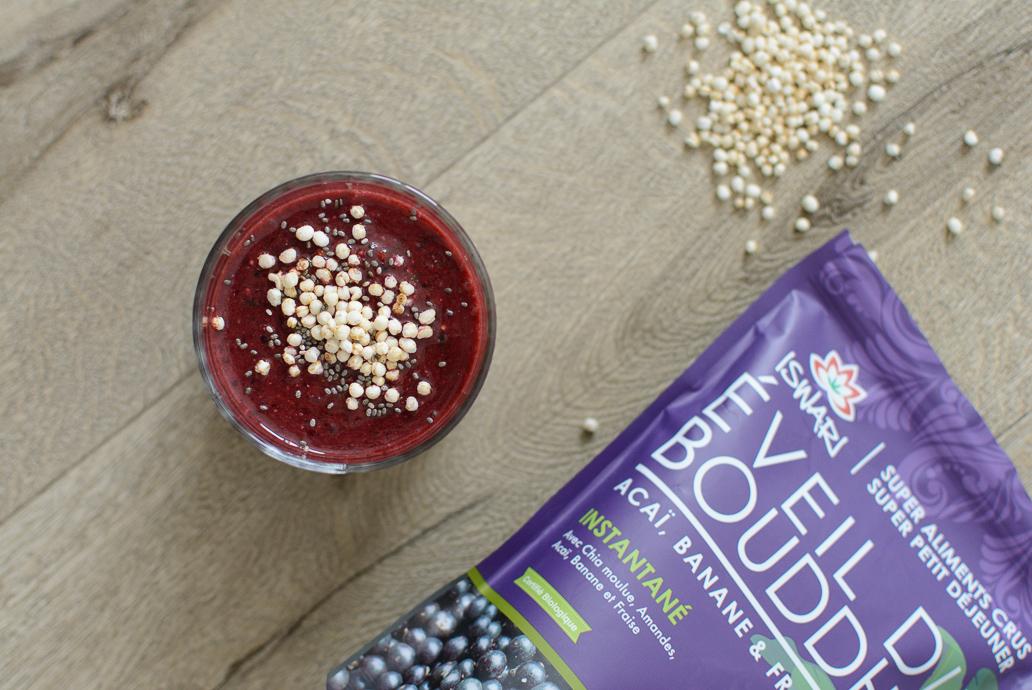 Pour apporter du croquant à votre boisson, ajoutez du quinoa soufflé !