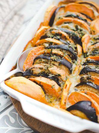 Gratin de légumes à IG bas : patate douce, aubergine, gorgonzola
