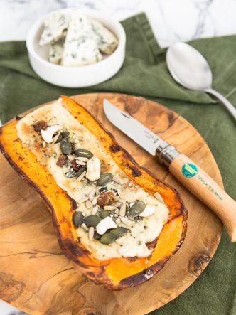 Une demie courge butternut et un peu de Dourme d'Ambert pour cette recette express et végétarienne