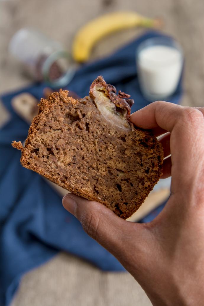 Tranche de pain à la banane, fait-maison et sans sucres raffinés
