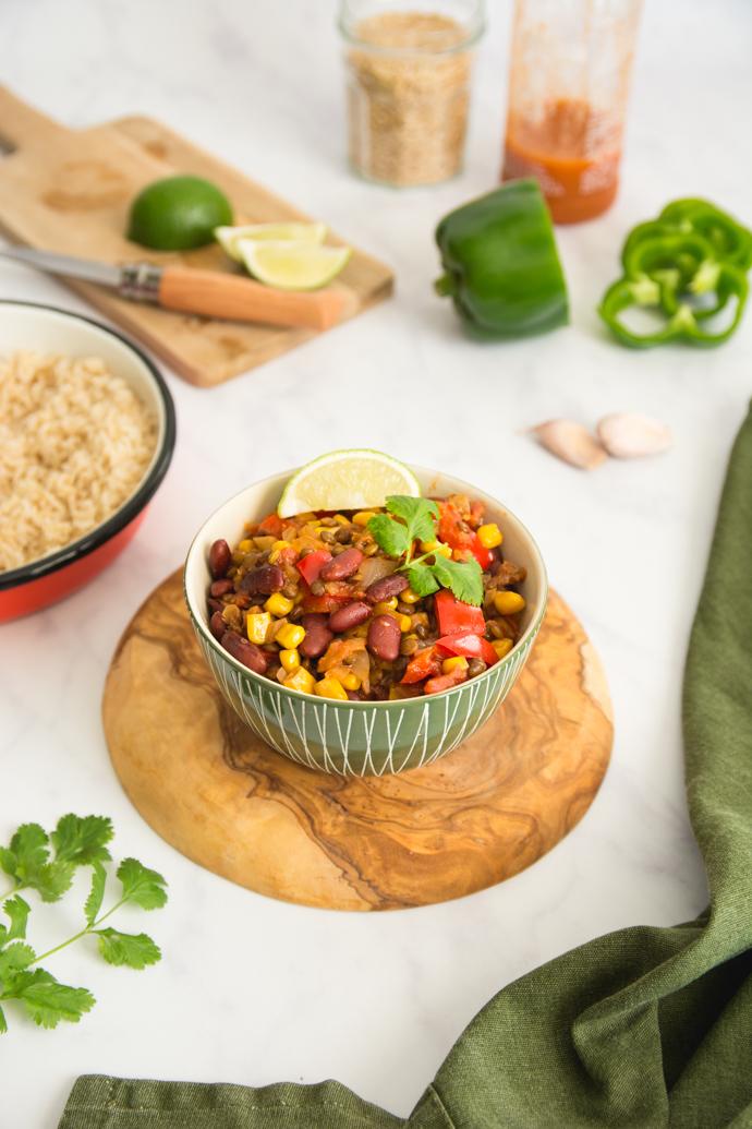Recette végétarienne Chili sin carne
