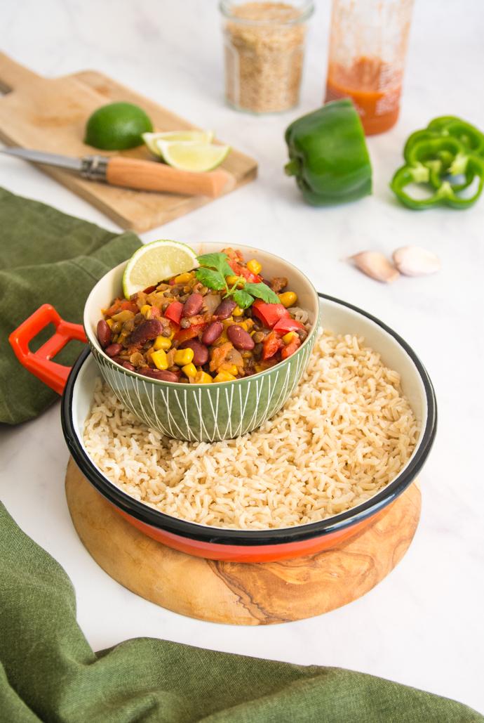 Recette mexicaine du chili sin carne - sans viande