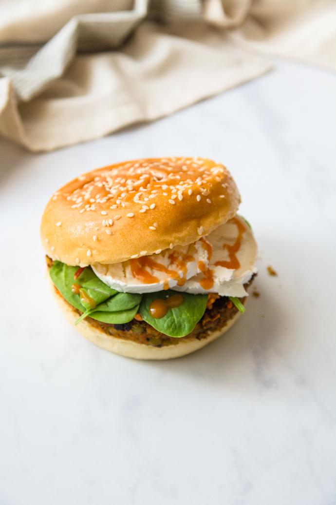 Burger de lentilles et fromage de chèvre