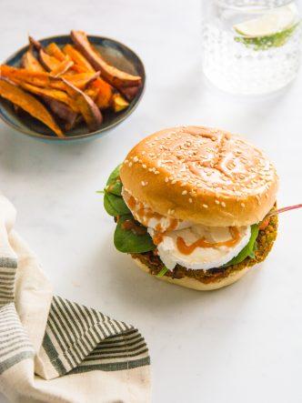 Burger veggie aux lentilles et chèvre
