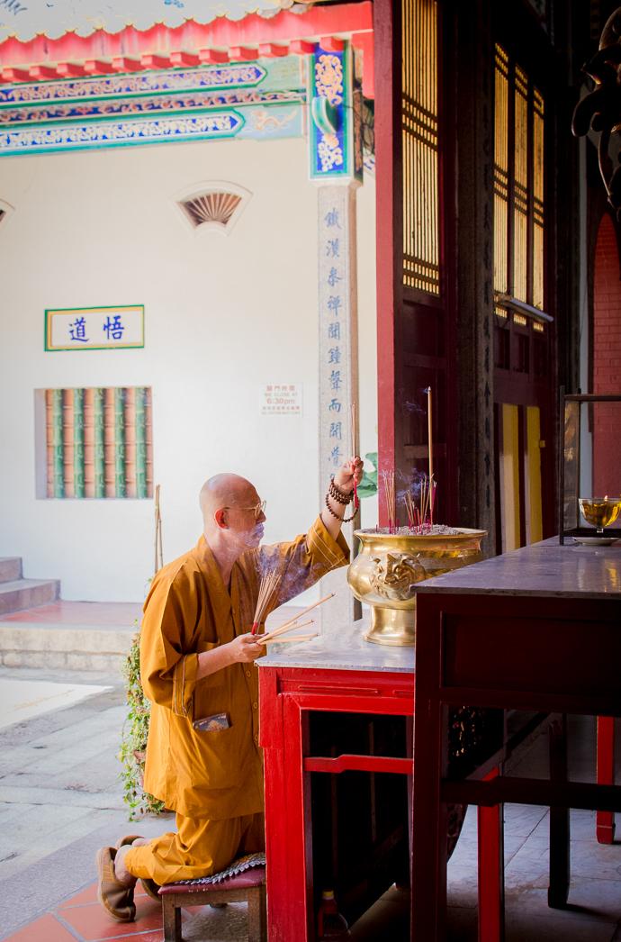 Prêtre, Kek Lok Si Temple, Penang, Malaisie