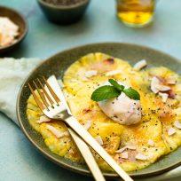 Recette de carpaccio à l'ananas - recette sans lactose, sans gluten, végan