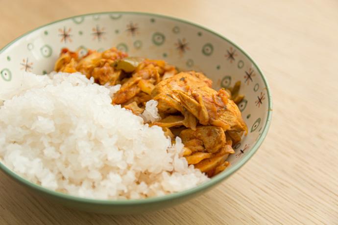 Recette de riz de konjac, poulet au poivrons - recette sans lactose