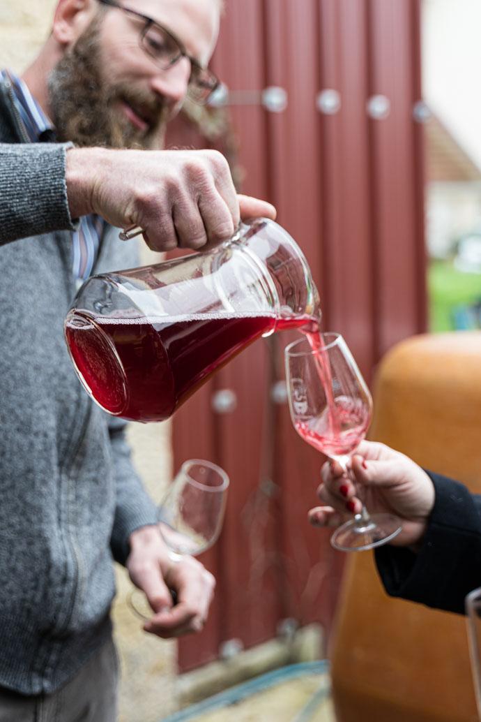 Dégustation de Poulsard avant embouteillage, vin jeune et croquant de la région du Jura