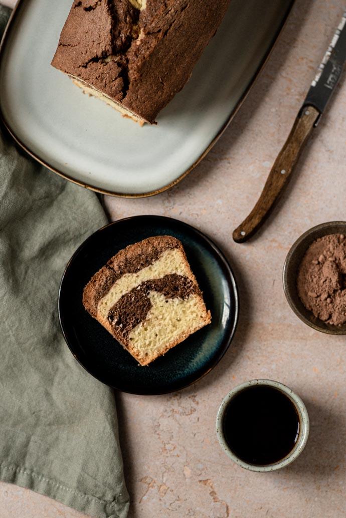 Recette du vrai cake marbré sans lait, sans beurre, sans lactose