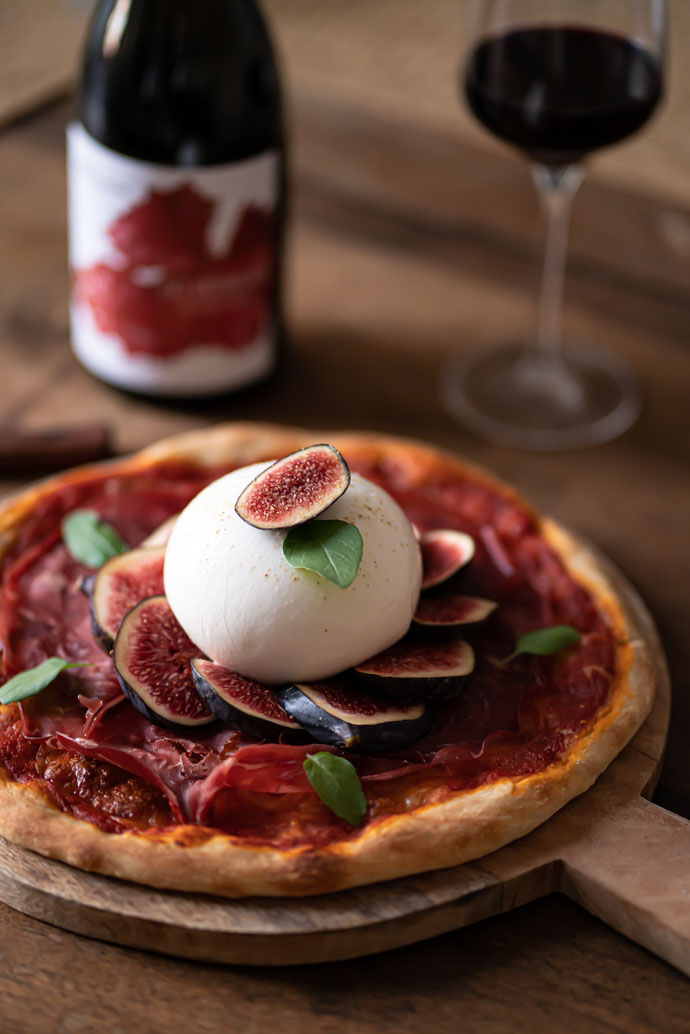 Idée recette avec de la burrata - pizza aux figues, bresaola & burrata
