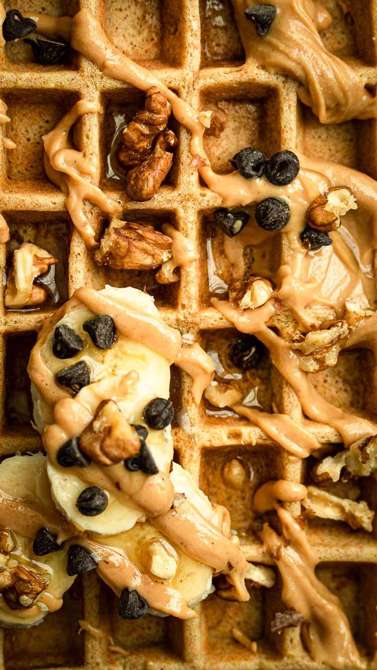Recette des gaufres au petit épeautre, vanille et beurre de cacahuètes - sans lactose