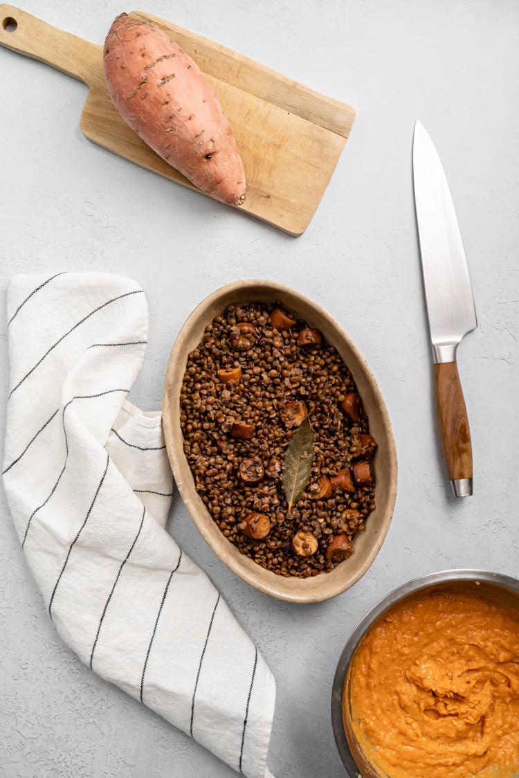 Hachis Parmentier à la patate douce et lentilles - recette sans lactose et végan