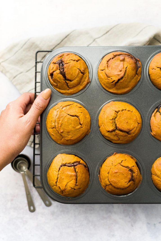 Recette sans lactose - Muffins à la courge et à la pâte à tartiner