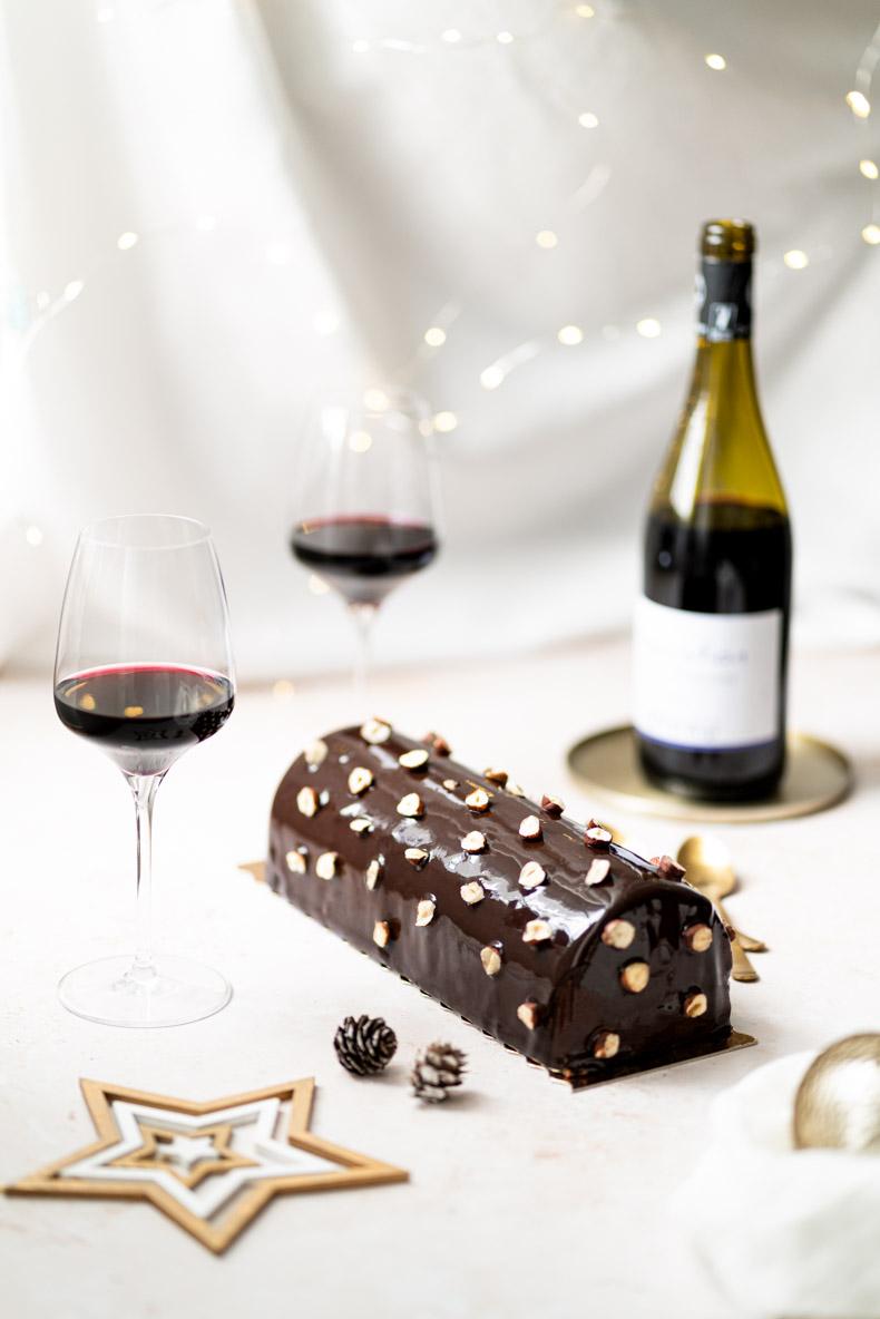 Quel vin boire avec une bûche au chocolat noir & framboise ?