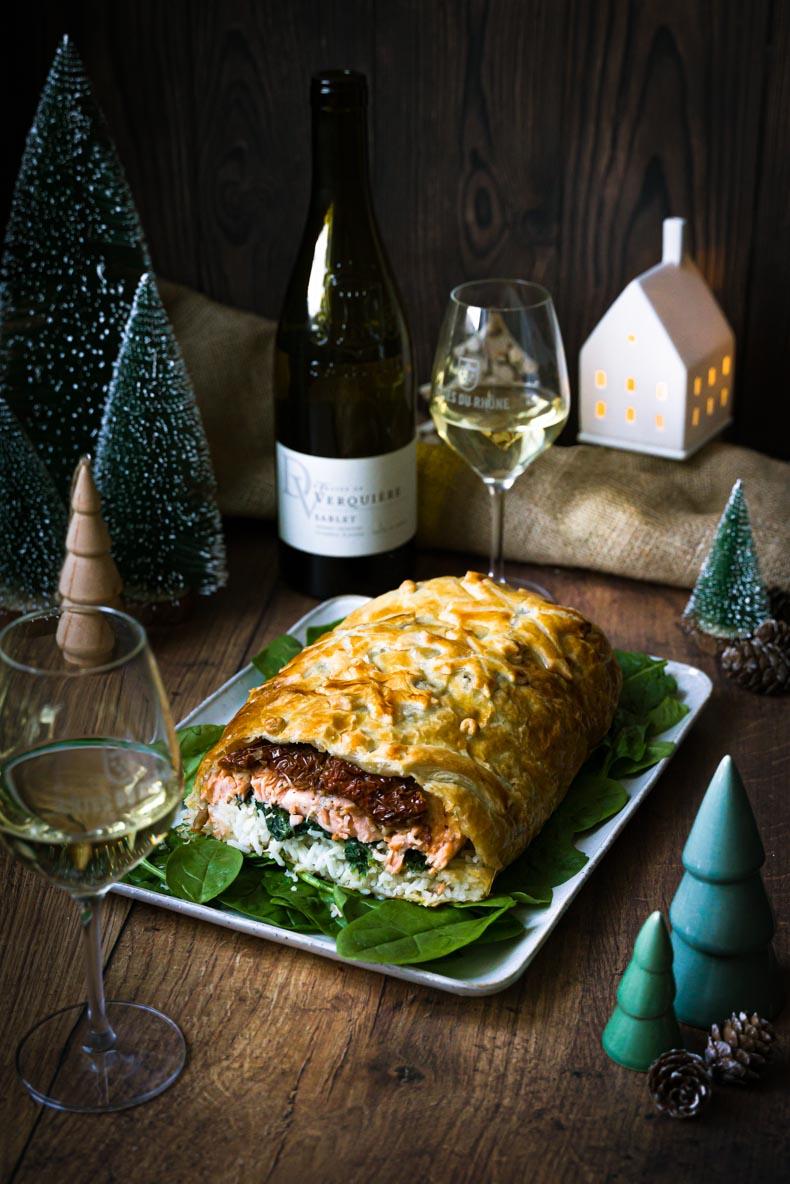 Saumon feuilletée (Koulibiac), châtaignes et champignons - recette festive de Noël