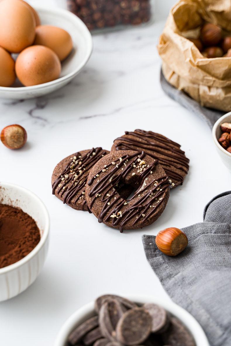Recette de sablés double chocolat & éclats de noisette - sans beurre