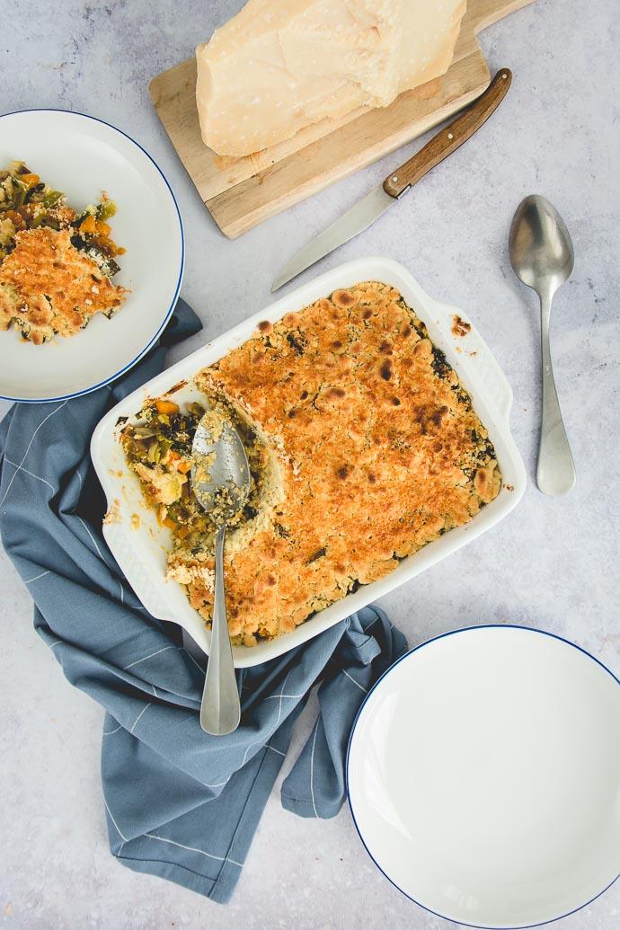 recette anti-gaspi : un crumble de légumes et fromage