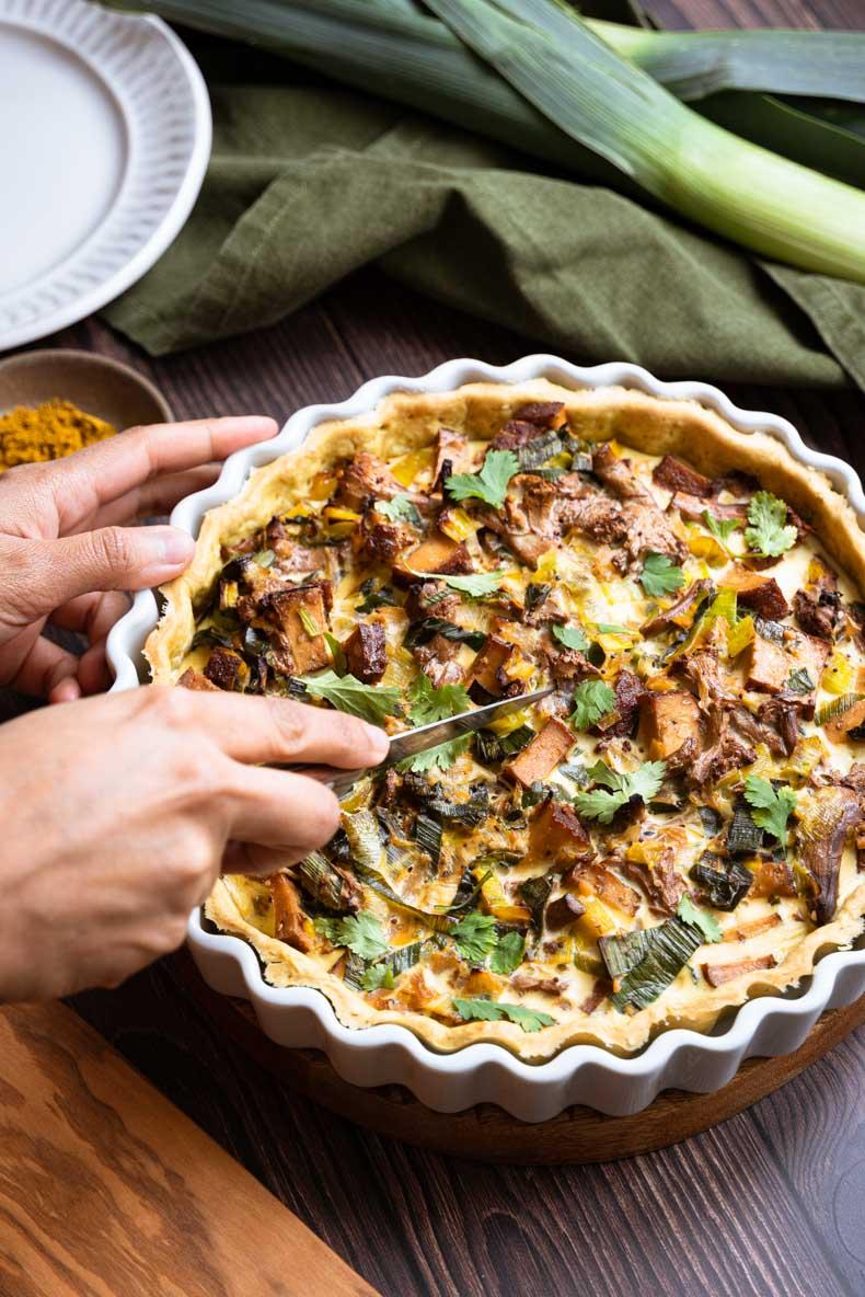 Faire une quiche aux poireaux & épices - sans lactose