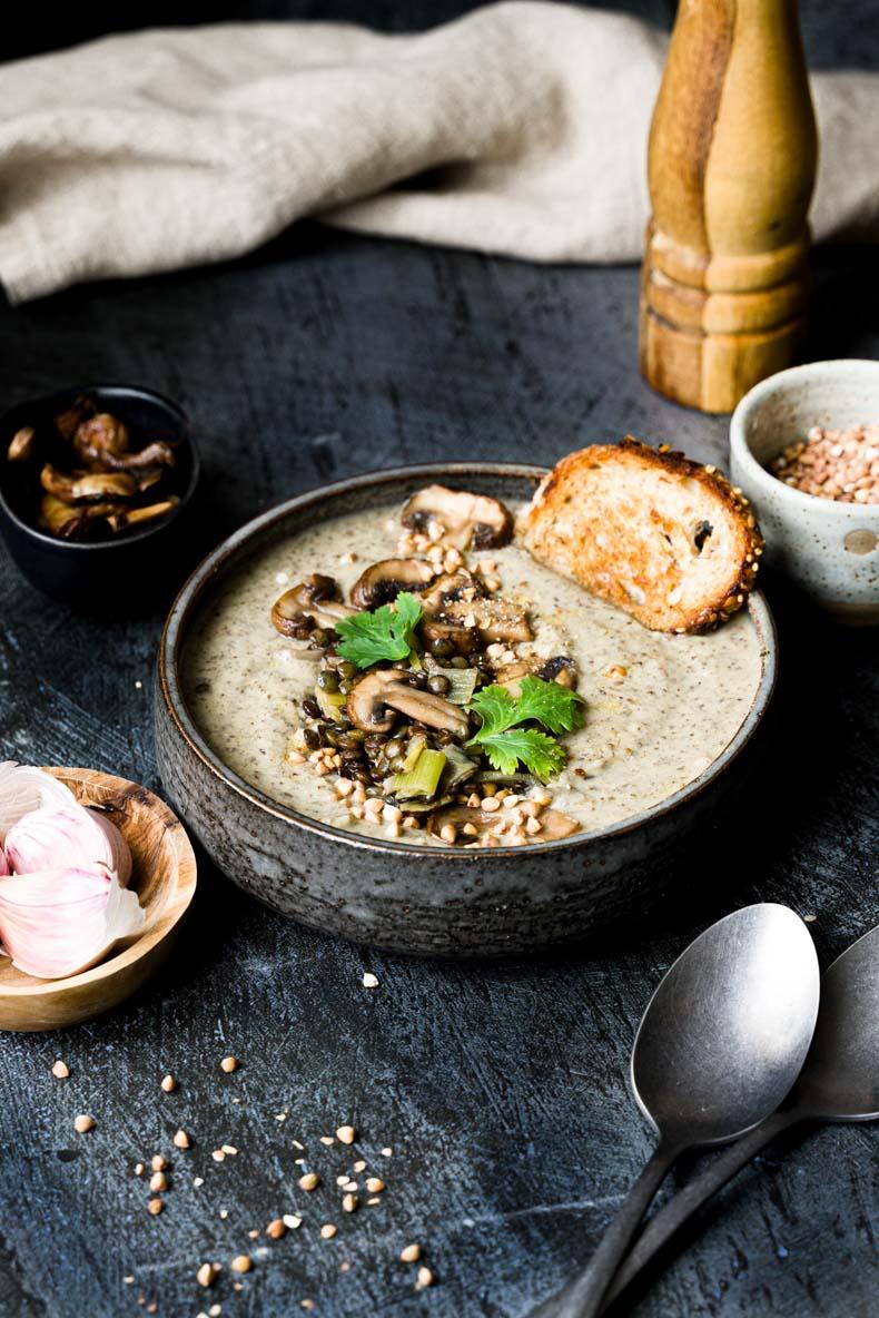 Recette de soupe facile aux lentilles & champignons